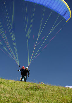 Rapid start for paragliding far above the Blackforest and the Rhine valley.