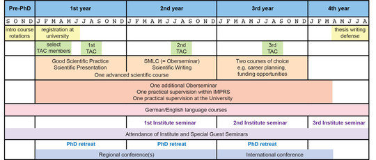 This diagram summarizes the activities that are required for IMPRS-MCB students. Yellow - prePhD phase and University interactions; Green - Thesis Advisory Committee (TACs); Orange - mandatory IMPRS-MCB curriculum; Red - University requirements; Pink - Language classes; Purple - Institute Seminars; Blue - PhD retreat and conferences