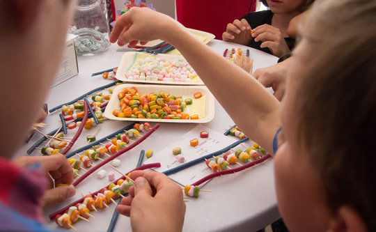 Science fair 2017: Kids creating DNA strands out of sweets at the booth of the MPI-IE