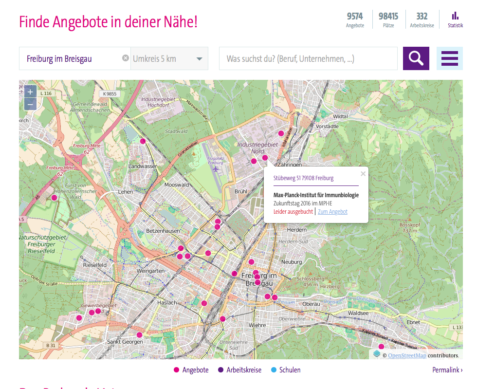 Screenshot of the Girls' Day website. Showing different events in Freiburg