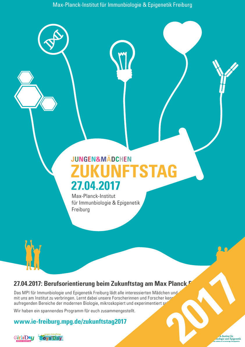 Zukunftstag 2017 at the Max Planck Institute of Immunobiology and Epigenetics (MPI-IE) as part of the nationwide Girls' Day & Boys' Day initiative. On April 27th, 2017 the MPI-IE will again open its doors to young adults, which are interested to visit the institute and want to learn more about the the exciting world of modern molecular biology and the profession of a scientist in this field of research.