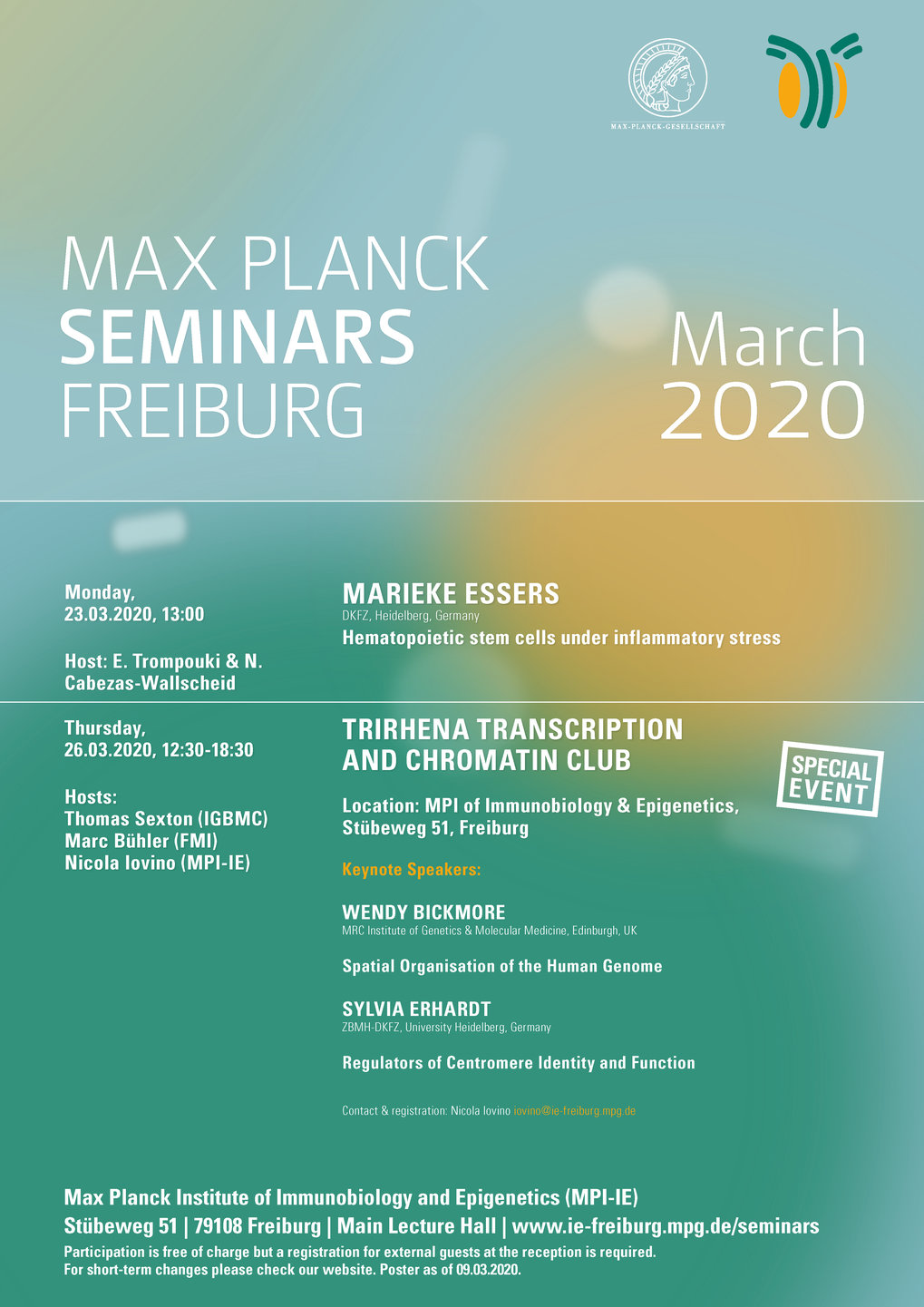 Max Planck Seminars – Monthly overview