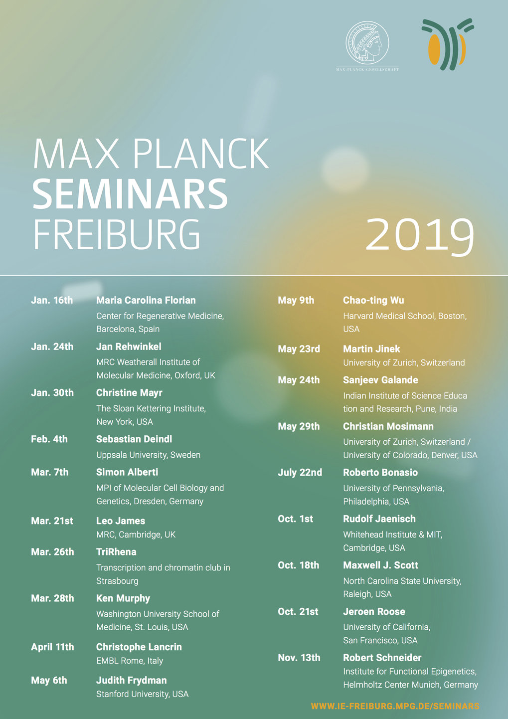 Program of the Max Planck Freiburg Lecture Series in 2019. To be continued.