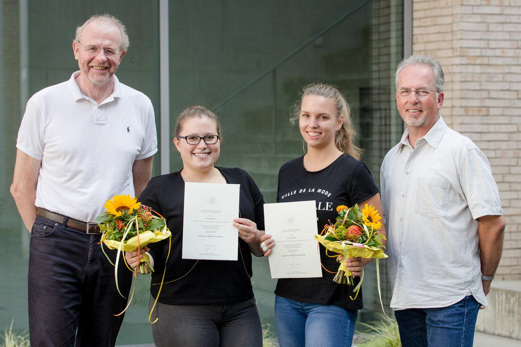 Fig 1 Trainee Award 2019 at the MPI-IE in Freiburg. Thomas Boehm, Sophia Bares, Jule Friehs and Herbert Holz (from left to right) at the award ceremony.